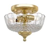 Crystorama Traditional 2-light Polished Brass Semi-Flush Mount