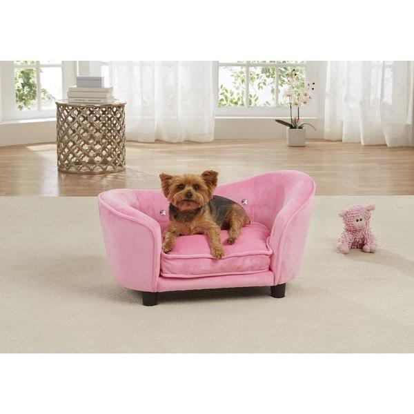 Enchanted Home Pet Pink Fabric Snuggle Ultra Plush Pet Sofa