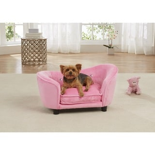 Enchanted Home Pet Ultra Plush Pink Fabric Snuggle Pet Sofa