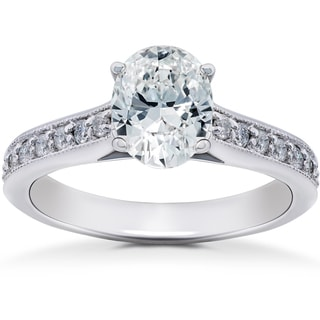 14k White Gold 1 1/3 ct TDW Oval Diamond Vintage Engagement Ring Solitaire Vintage Accent (H-I, I1-I2)