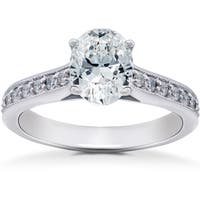 14k White Gold 1 1/3 ct TDW Oval Diamond Vintage Engagement Ring Solitaire Vintage Accent