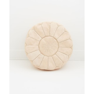 Moroccan Leather Pouf Nude Unstuffed Ottoman (Morocco)