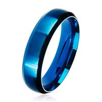 Men's Blue Plated Satin Stainless Steel Beveled Comfort Fit Ring - 6mm Wide