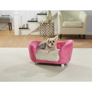 Enchanted Home Pet Ultra Plush Pink Snuggle Pet Sofa with Faux Fur Cushion