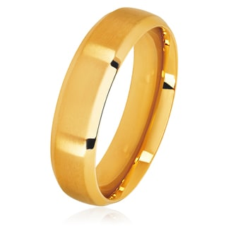 Men's Gold Plated Satin Stainless Steel Beveled Comfort Fit Ring - 6mm Wide