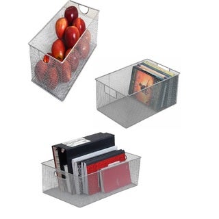 Open Storage Silvertone Stainless Steel Mesh Storage Baskets (Set of 3)