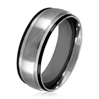 Men's Two-Tone Satin Stainless Steel Grooved Comfort Fit Ring - 8mm Wide