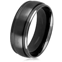 Men's Black Plated Dual Finish Stainless Steel Grooved Comfort Fit Ring - 8mm Wide