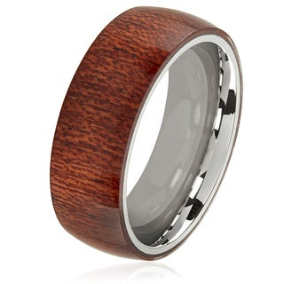 Crucible Men's Wood Overlay Stainless Steel Domed Comfort Fit Ring - 8mm Wide