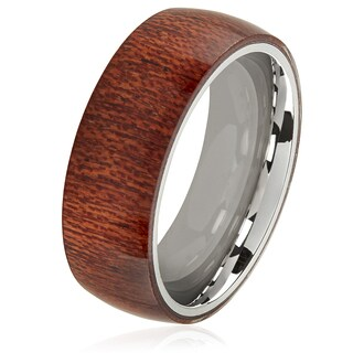 Crucible Wood Overlay Stainless Steel Domed Comfort Fit Ring (8mm)