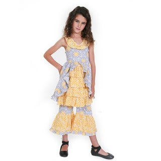Jelly the Pug Girls' Tatiana Multicolor Cotton Woven Tile Dress and Pant Set