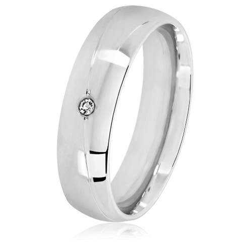 Men's Solitaire High Polish Stainless Steel Crystal Ring - 6mm Wide