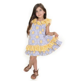 Allie Girls' Blue and Yellow Cotton Tile Woven Dress