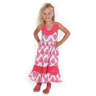 Jelly the Pug Samantha Fleur Girls' Woven Cotton Maxi Dress