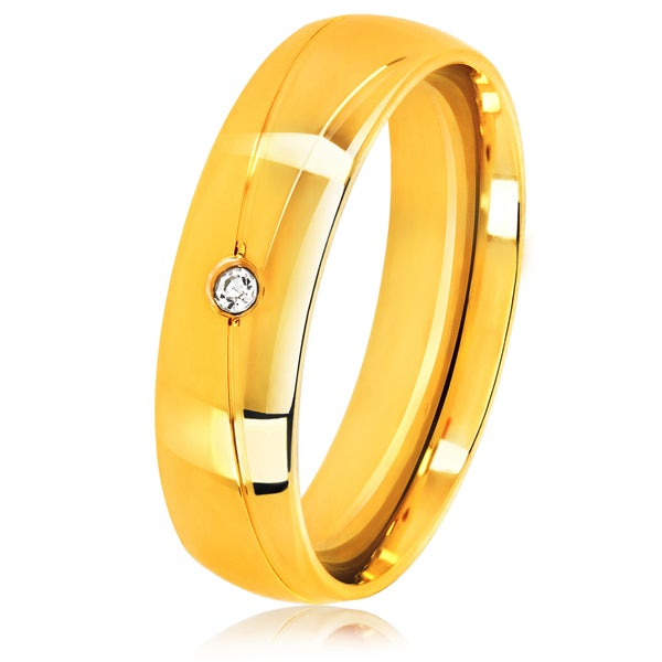 Men's Solitaire Gold Plated Stainless Steel Crystal Ring - 6mm Wide