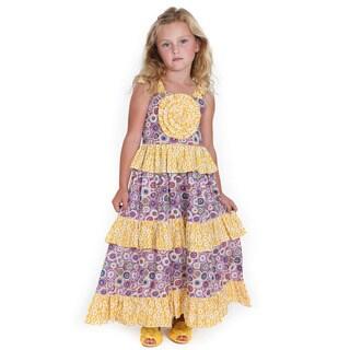 Jelly the Pug Pinwheel Boho Maxi Woven Dress