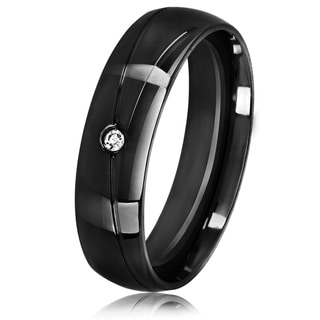 Men's Solitaire Black Plated Stainless Steel Crystal Ring - 6mm Wide