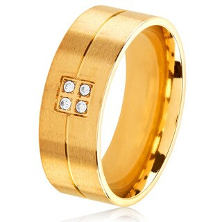 Men's Gold Plated Stainless Steel Crystal Grooved Comfort Fit Ring - 8mm Wide