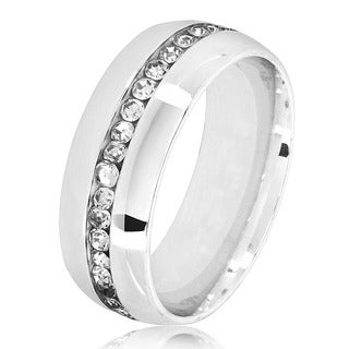 Men's Eternity Crystal High Polish Stainless Steel Comfort Fit Ring - 8mm Wide