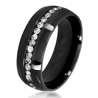Men's Eternity Crystal Black Plated Stainless Steel Ring - 8mm Wide