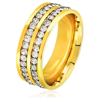 Men's Double Eternity Crystal Gold Plated Stainless Steel Comfort Fit Ring - 8mm Wide