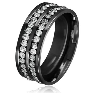 Men's Double Eternity Crystal Black Plated Stainless Steel Comfort Fit Ring - 8mm Wide