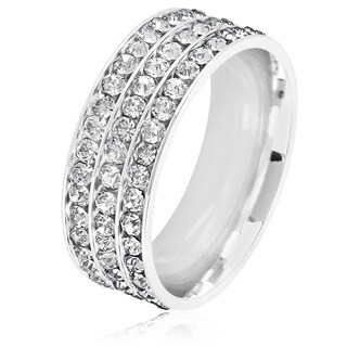 Men's Triple Eternity Crystal High Polish Stainless Steel Comfort Fit Ring - 8mm Wide