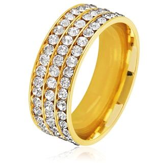 Men's Triple Eternity Crystal Gold Plated Stainless Steel Comfort Fit Ring - 8mm Wide