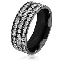 Men's Triple Eternity Crystal Black Plated Stainless Steel Comfort Fit Ring - 8mm Wide