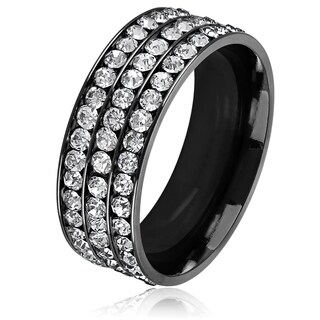 Men's Triple Eternity Crystal Black Plated Stainless Steel Comfort Fit Ring - 8mm Wide
