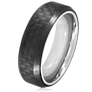 Crucible Men's Stainless Steel Carbon Fiber Beveled Comfort Fit Ring - 7mm Wide
