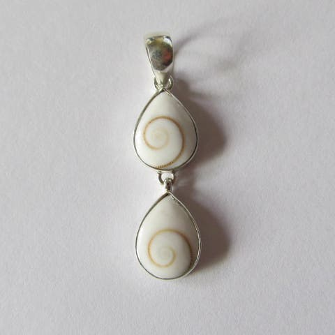 Handmade Sterling Operculum Double Teardrop Necklace (Indonesia)