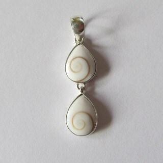 Handmade Sterling Silver and Operculum Eye of Shiva Double Teardrop Pendant (Bali)