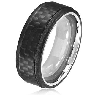 Crucible Men's Stainless Steel Carbon Fiber Ridged Comfort Fit Ring - 8mm Wide