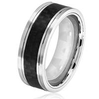 Crucible Men's Stainless Steel Carbon Fiber Grooved Comfort Fit Ring - 8mm Wide