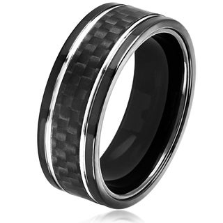 Crucible Men's Black Plated Stainless Steel Carbon Fiber Silver Grooved Comfort Fit Ring - 8mm Wide