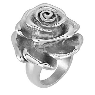 ELYA Blooming Rose Polished Stainless Steel Ring (3 options available)