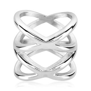 ELYA Symmetric Crisscross Orbit High Polished Stainless Steel Ring