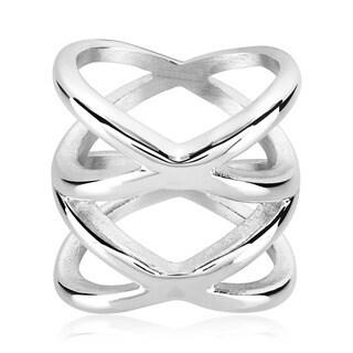 ELYA Symmetric Crisscross Orbit High Polished Stainless Steel Ring