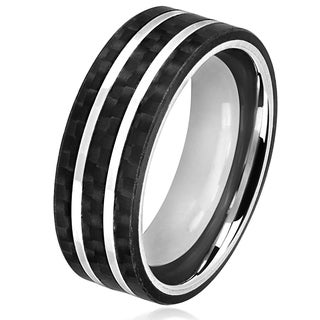 Crucible Men's Stainless Steel Carbon Fiber Silver Striped Comfort Fit Ring - 8mm Wide