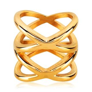 ELYA Symmetric Crisscross Orbit Gold Plated Stainless Steel Ring