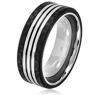 Crucible Men's Stainless Steel Carbon Fiber Triple Striped Comfort Fit Ring - 8mm Wide
