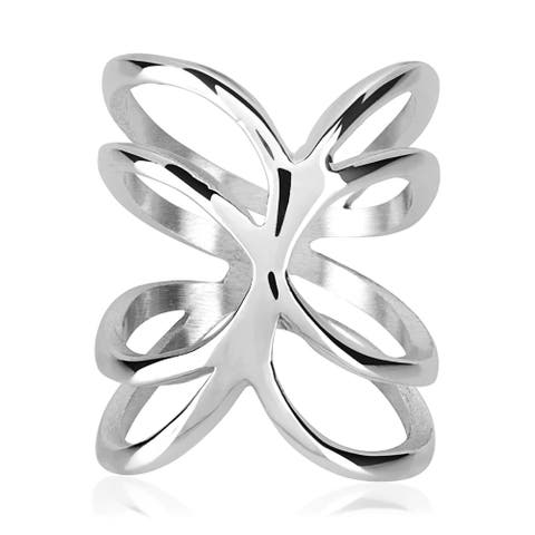 ELYA High Polish Open Waved Band Stainless Steel Ring
