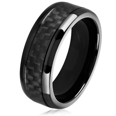 Crucible Men's Black Plated High Polish Stainless Steel Carbon Fiber Comfort Fit Ring - 8mm Wide
