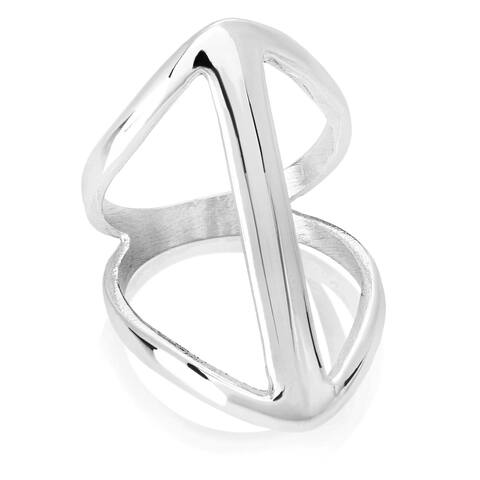 ELYA High Polish Symmetric Split Waved Band Stainless Steel Ring - Silver