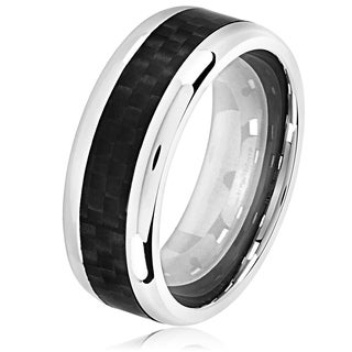 Crucible Men's High Polish Stainless Steel Carbon Fiber Beveled Comfort Fit Ring - 8mm Wide