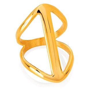 ELYA Gold Plated Symmetric Split Waved Band Stainless Steel Ring