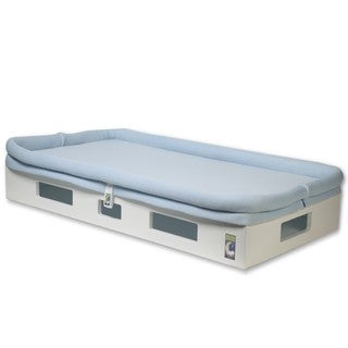 SafeSleep Breathable Light Blue Crib Mattress and White Base