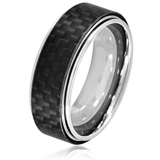 Crucible Men's High Polish Stainless Steel Carbon Fiber Overlay Comfort Fit Ring - 8mm Wide