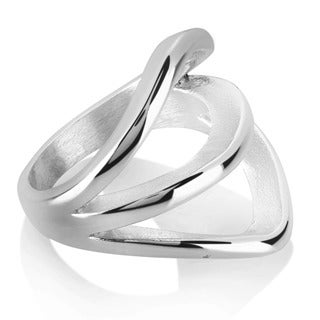 ELYA High Polish Split Band Stainless Steel Ring - Silver